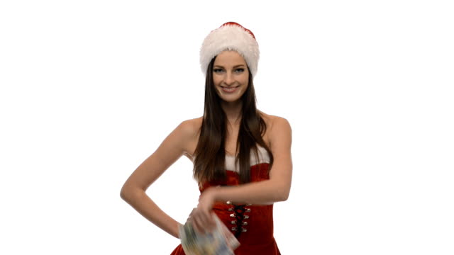 christmas girl with money - mrs claus stock videos and b-roll footage