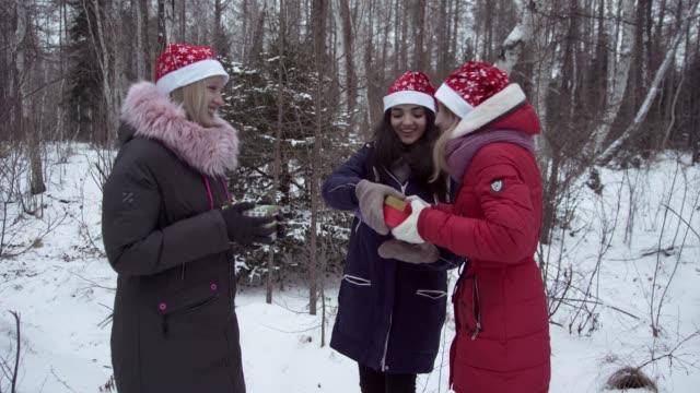 Weihnachten. Mädchen im Winterwald