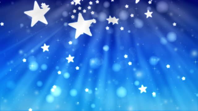 Christmas Glitter Stars Blue Background