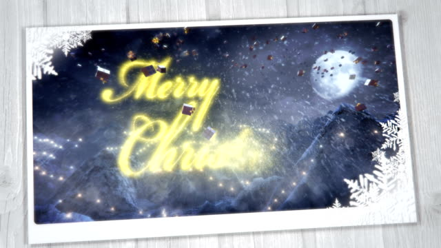 christmas greeting card with presents (night, gold) - loop - christmas card stock videos & royalty-free footage