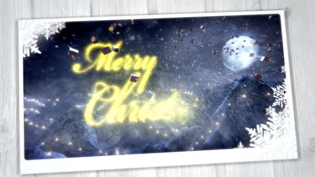 クリスマスのグリーティングカードには、(1 泊)で、ゴールドのループ - クリスマスカード点の映像素材/bロール