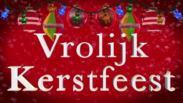 christmas greeting in dutch with christmas decorations and red background - dutch culture stock videos & royalty-free footage