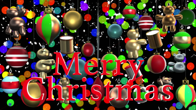 christmas greeting in english with decorations saved with alpha channel - johnfscott stock videos & royalty-free footage