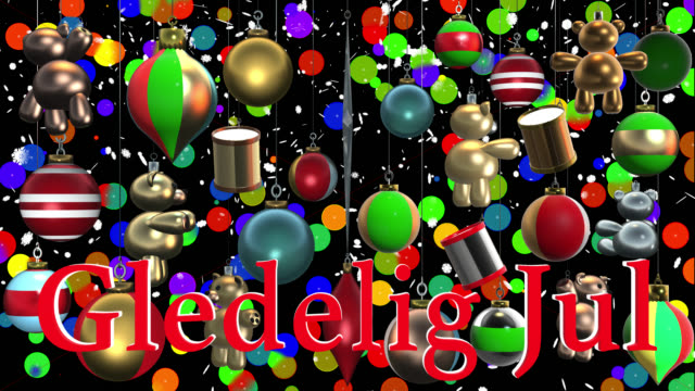 christmas greeting in norwegian with decorations saved with alpha channel - ornament stock videos and b-roll footage