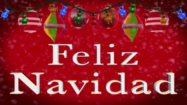 Christmas greeting in Spanish with Christmas decorations and red background