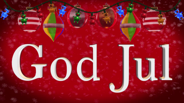 christmas greeting in swedish with christmas decorations and red background - god stock videos and b-roll footage