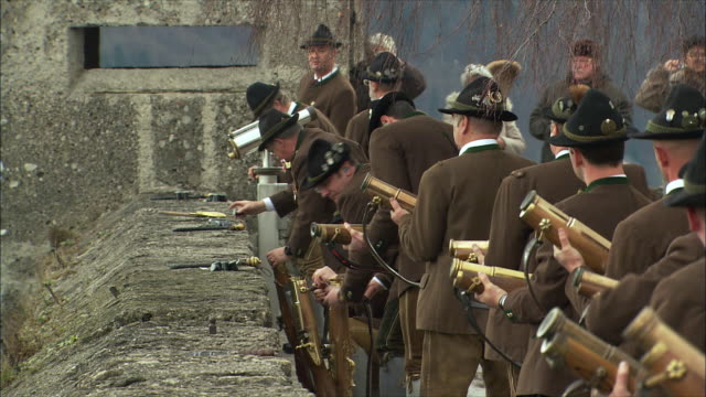 ms christmas gun salute at hohensalzburg fortress, men preparing rifles / salzburg, austria - austrian costume stock videos and b-roll footage