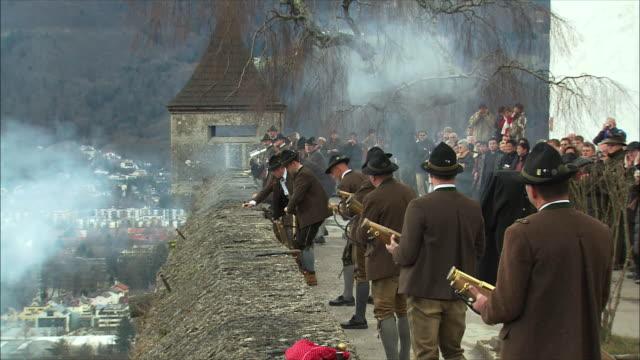 ws christmas gun salute at hohensalzburg fortress / salzburg, austria - traditionally austrian stock videos & royalty-free footage