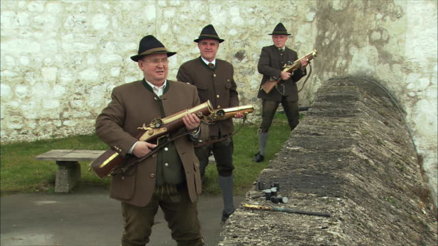 ms christmas gun salute at hohensalzburg fortress / salzburg, austria - austria stock videos and b-roll footage
