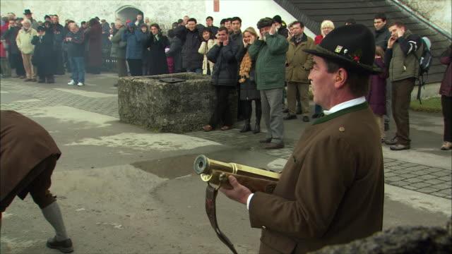 ms christmas gun salute at hohensalzburg fortress, spectators watching / salzburg, austria - austrian costume stock videos and b-roll footage