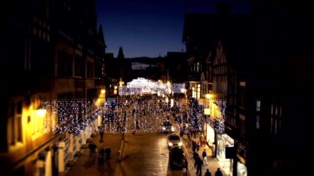 christmas high street - chester england stock videos and b-roll footage