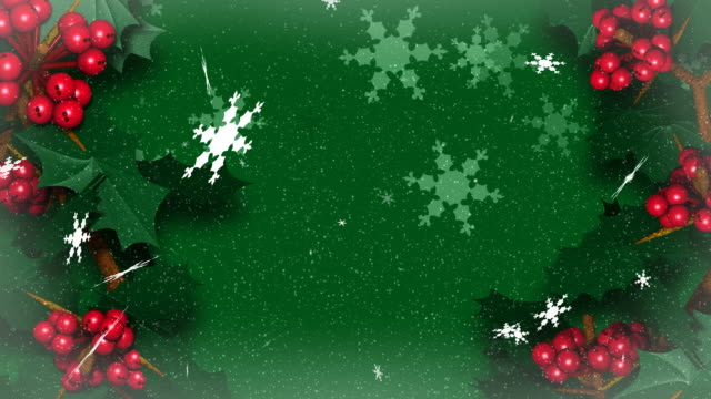 Christmas Holly Ivy mit Snow Flakes Falling