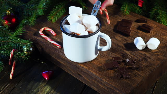 christmas hot chocolate - marshmallow video stock e b–roll