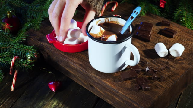 christmas hot chocolate - candy cane stock videos & royalty-free footage