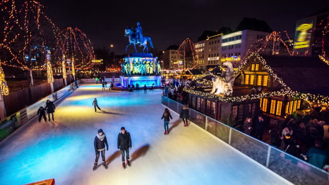 christmas ice skating - christmas market - germany stock videos & royalty-free footage
