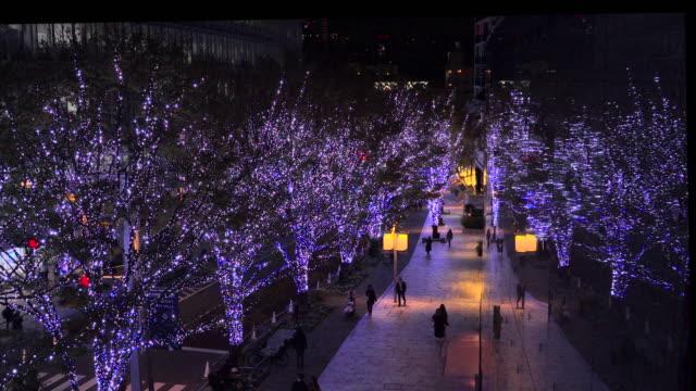 けやき坂のクリスマスイルミネーション - 丘点の映像素材/bロール