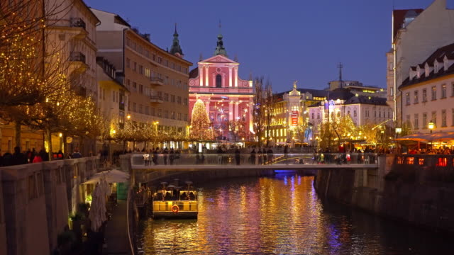 Christmas in Ljubljana at night