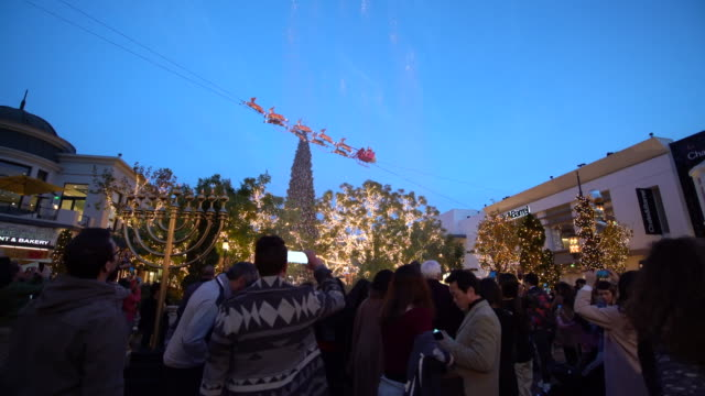 christmas in los angeles - the grove los angeles stock videos & royalty-free footage