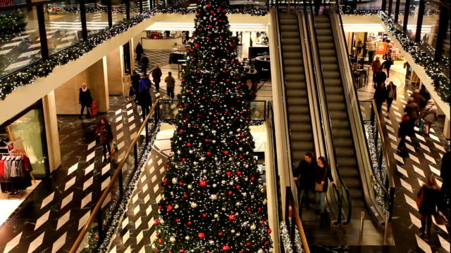 christmas in shopping center, time lapse - christmas tree stock videos & royalty-free footage