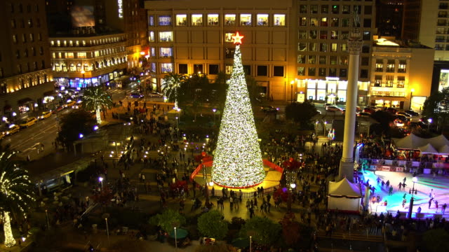 christmas in union square - san francisco california stock videos & royalty-free footage