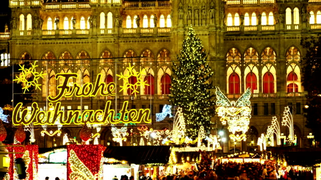 christmas in vienna - time lapse - vienna city hall stock videos & royalty-free footage