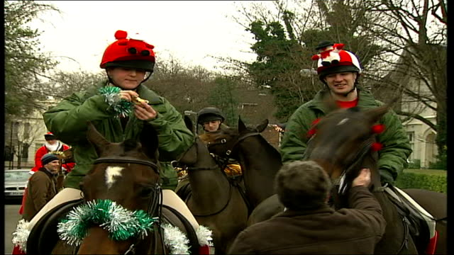 kings troop royal artillery spreads christmas cheer girl stroking horse with tinsel attached to ears soldiers from royal horse artillery on horseback... - tinsel stock videos & royalty-free footage