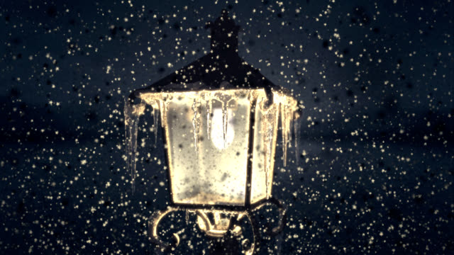 christmas lamp in falling snowflaks - icicle stock videos and b-roll footage
