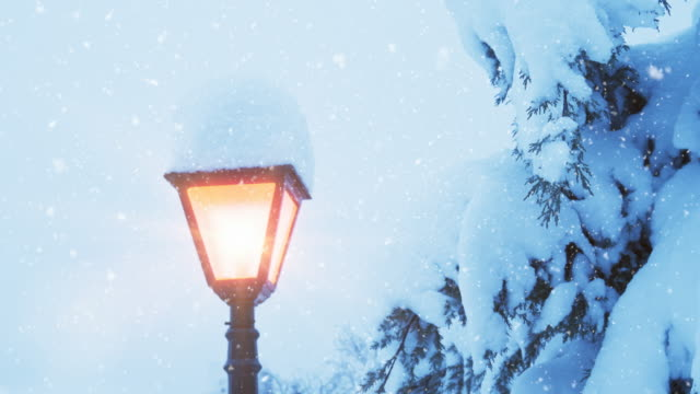 christmas lamp post | loopable - snow cornice stock videos and b-roll footage