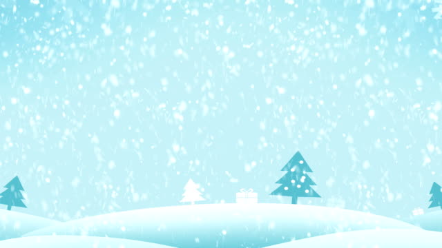 4K Christmas Landscape Background Blue