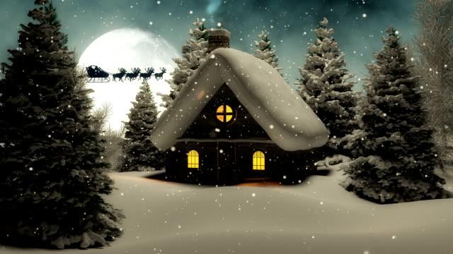 weihnachten landschaft mit santa claus - 2014 stock-videos und b-roll-filmmaterial