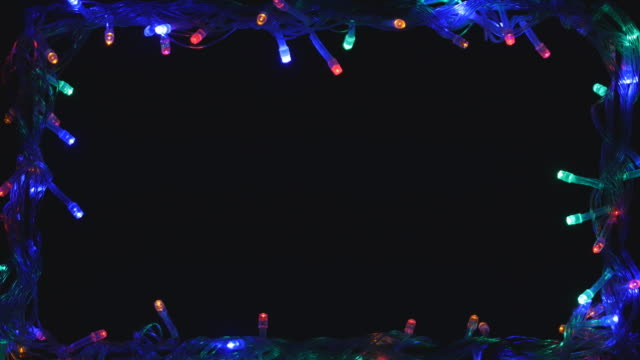 christmas light frame led multi color 4k - blinking stock videos & royalty-free footage