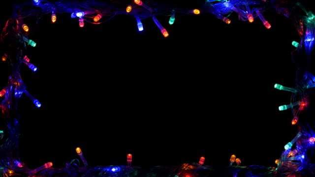 christmas light frame led multi color 4k - frame border stock videos & royalty-free footage