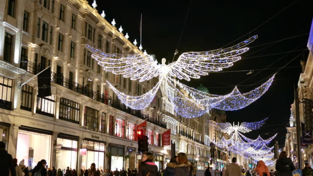 4k christmas lighting & shopping on oxford street, london - oxford street london stock videos and b-roll footage