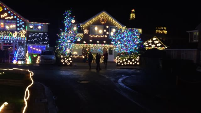 Christmas lights are displayed on houses in Trinity Close in BurnhamonSea on December 14 2015 in Somerset England Each year a number of house in the...