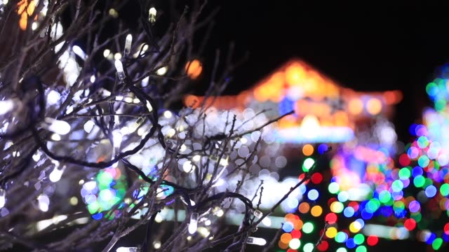 christmas lights are displayed on houses in trinity close in burnham-on-sea on december 18, 2017 in somerset, england. for over 10 years the... - fairy lights stock videos & royalty-free footage