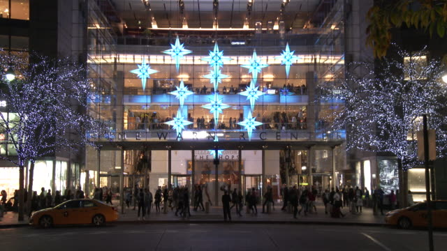 christmas lights & holiday decorations - columbus circle, manhattan - time warner center stock videos & royalty-free footage