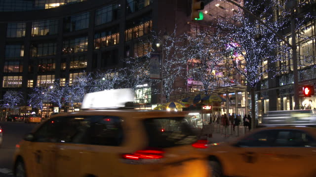 christmas lights & holiday decorations - columbus circle, manhattan - taxi stock videos & royalty-free footage
