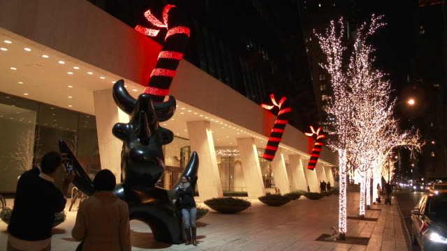 christmas lights & holiday decorations - midtown manhattan - candy cane stock videos & royalty-free footage