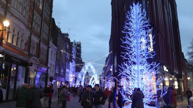 christmas lights illuminate the blue arches on south molton street during the second major lockdown of the coronavirus pandemic on november 21, 2020... - fairy lights stock videos & royalty-free footage