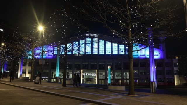 christmas lights illuminate the sse arena at wembley park, during the second major lockdown of the coronavirus pandemic on november 26, 2020 in... - wembley arena stock videos & royalty-free footage