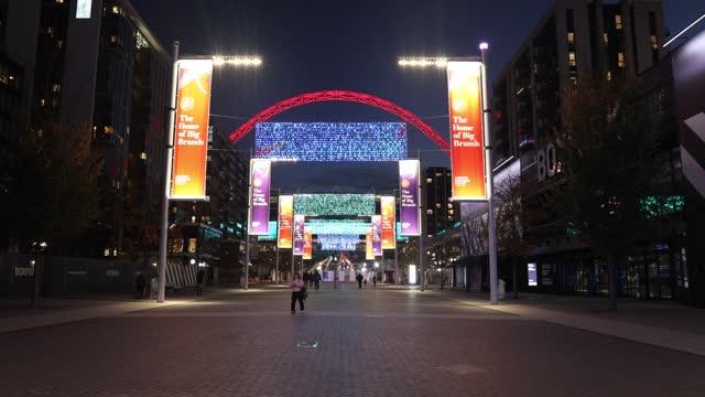 christmas lights illuminate wembley stadium at wembley park, during the second major lockdown of the coronavirus pandemic on november 26, 2020 in... - fairy lights stock videos & royalty-free footage