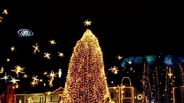 christmas lights in ljubljana - ljubljana stock videos & royalty-free footage