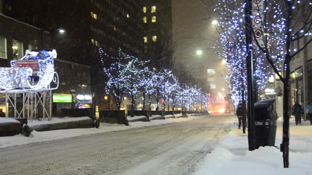 christmas lights in yonge street during winter on december 13, 2013; in toronto, ontario, canada. the downtown district is a famous place and a major... - toronto stock videos & royalty-free footage