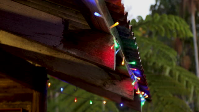 christmas lights on australian shed - shed stock videos & royalty-free footage