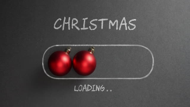 christmas loading - blackboard holiday decoration red baubles - art and craft stock videos & royalty-free footage