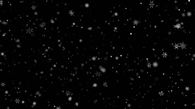 vídeos de stock, filmes e b-roll de natal magic snow snowfall alpha layer on black 4k vídeo stock-use sceen mode - neve