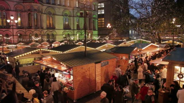 christmas market, albert square, manchester, lancashire, england, united kingdom  - christmas market stock videos & royalty-free footage