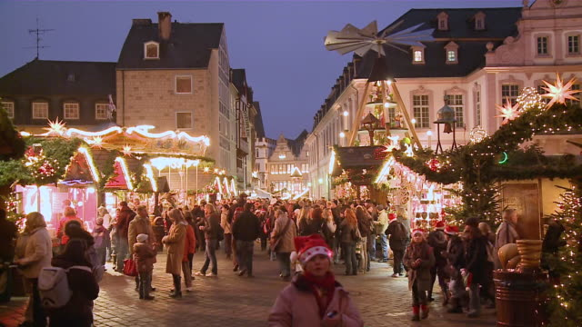 ms christmas market at evening / trier, rhineland-palatinate, germany - christmas market stock videos & royalty-free footage