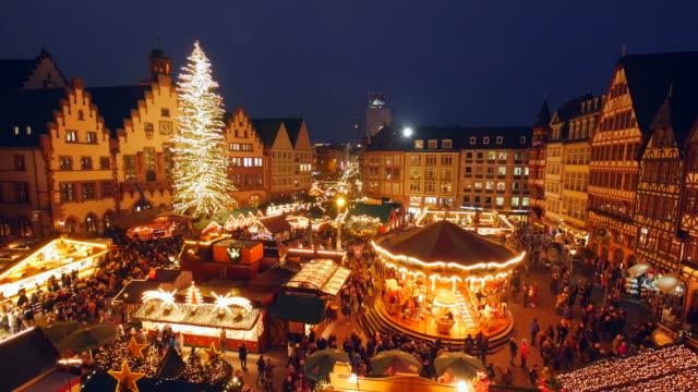 christmas market at römerberg square, frankfurt am main, hesse, germany - christmas market stock videos & royalty-free footage