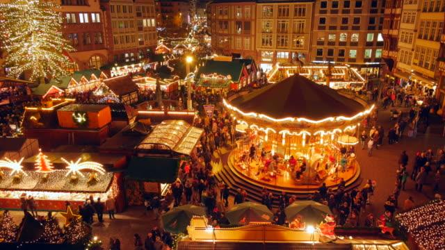 christmas market at römerberg square, frankfurt am main, hesse, germany - hesse germany stock videos and b-roll footage